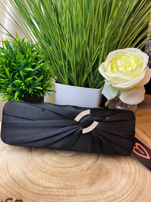 Black Sparkly Crystal Satin Ruched Clutch Purse