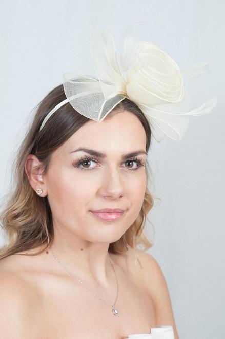 Cream Oversized Floral Bow Fascinator