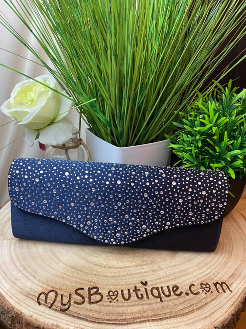 Elegance Navy Diamante Clutch Bag