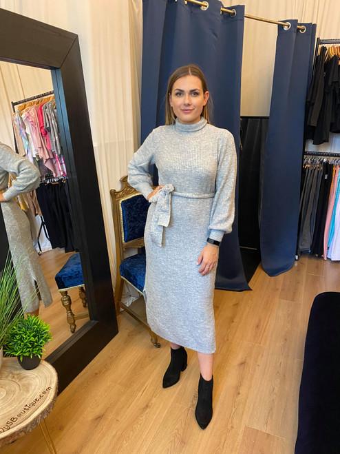 Finer Details Grey Ribbed Belted Long Sleeve Jumper Dress