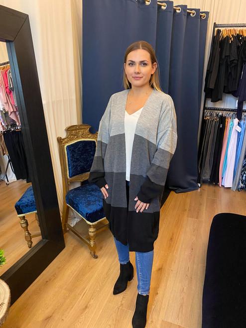 Stripe a Pose Grey Long Sleeve Colour Block Cardigan