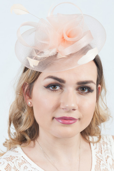Peachy Nude Floral Feather Fascinator