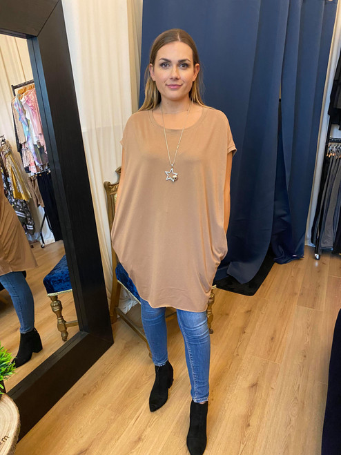 A Star is Born Camel Oversize Top & Necklace