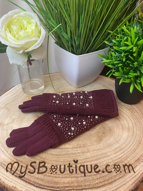 Blinding Lights Diamante & Pearl Embellished Wine Touch Screen 3 in 1 Gloves