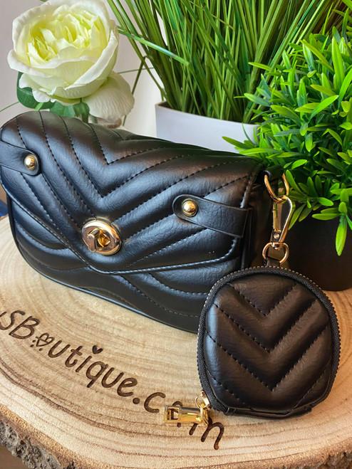 Saffine Black Quilted Shoulder Bag & Coin Purse Set