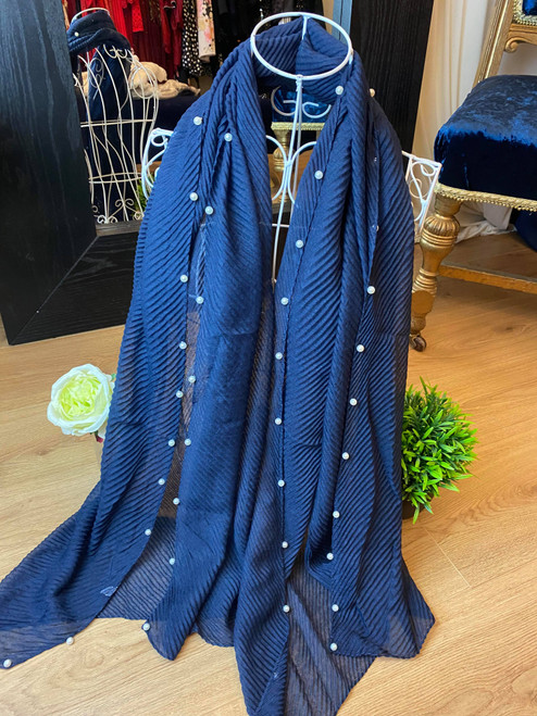 Princess Pearls Navy Textured Large Scarf