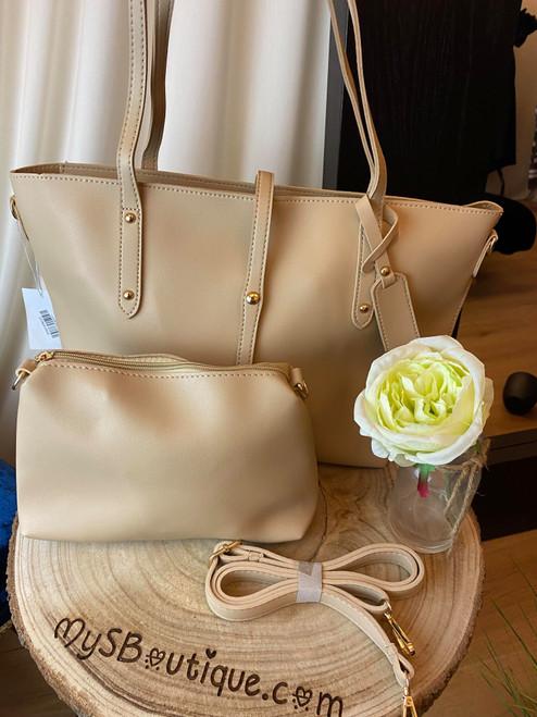 All Day Everyday Beige Tote & Crossbody Handbag Set