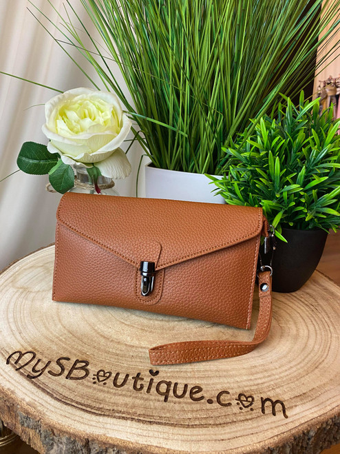 Continental Jet Set Style Micro Clutch with Wristlet & Shoulder Strap Tan