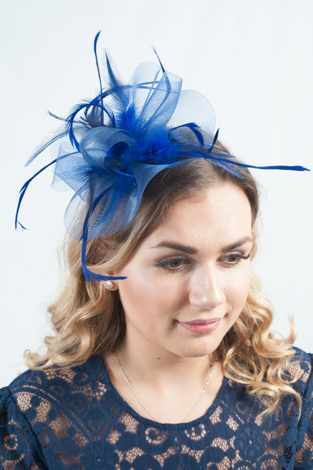 Vixen Royal Blue & Navy Statement Feather Fascinator