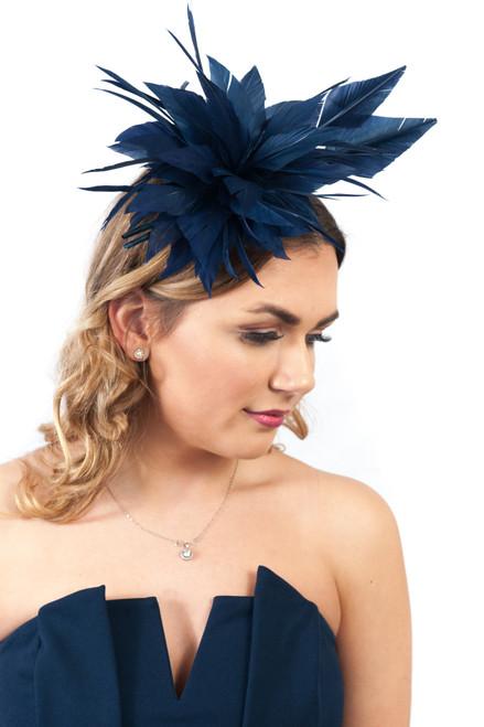 Navy Statement Feather Plume Fascinator Headpiece