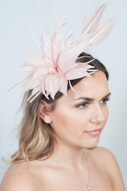 Pale Pink Statement Feather Plume Detail Fascinator
