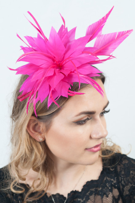 Hot Pink Fuchsia Statement Feather Plume Fascinator