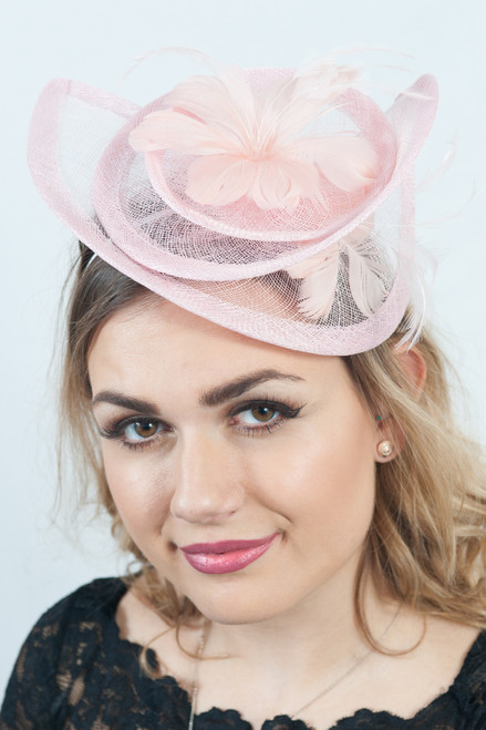 Baby Pink Sinamay Floral Bloom Feather Hatinator