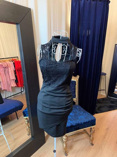 Sexy Stella Choker Neck Lace Keyhole Mini Dress