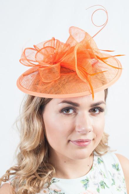 Oriental Lily Orange Floral Sinamay Fascinator Hat