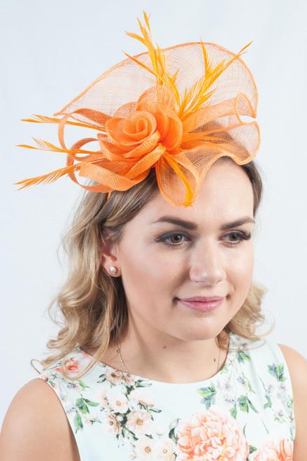 Opulent Orange Sinamay Floral Feather Fascinator