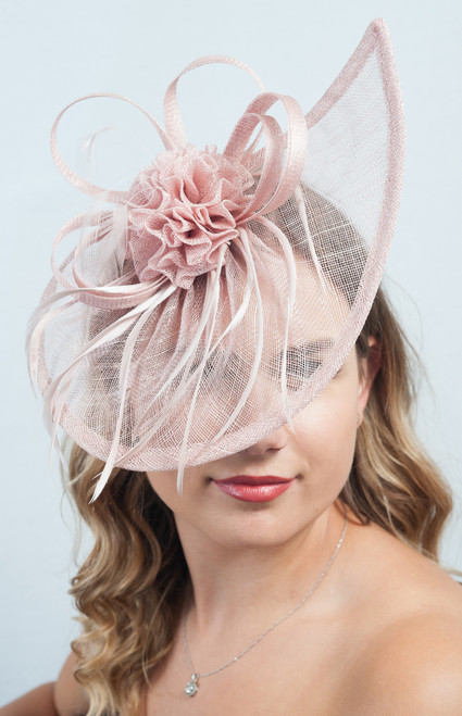 Dusky Pink Sinamay Headpiece Fascinator