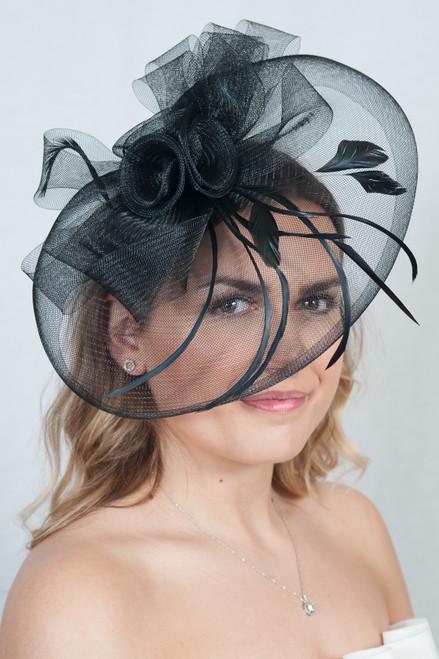 Large Black Veil Feather Headpiece Floral Fascinator