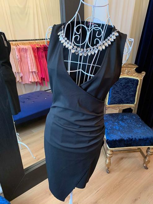 Diamante Wrap Ruched Little Black Mini Dress