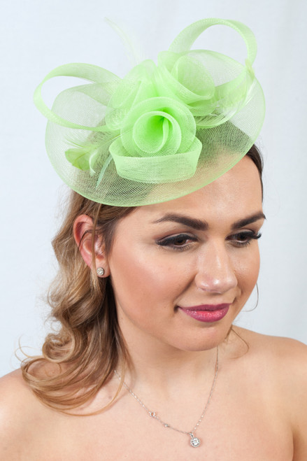 Lime Green Floral Feather Fascinator