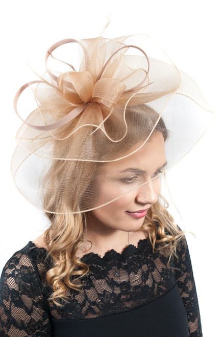 Large Gold Veil Feather & Floral Fascinator Headpiece