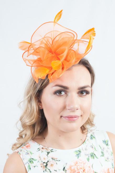 Orange Organza Tulle Feather Fascinator