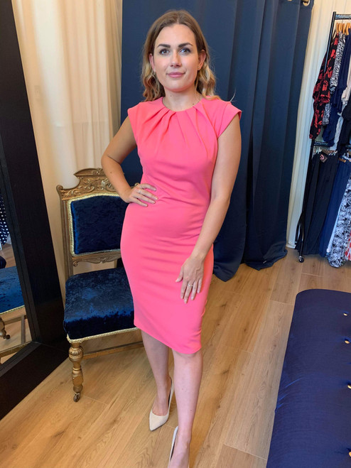 Mayfair Coral Pleated Bodycon Occasion Dress