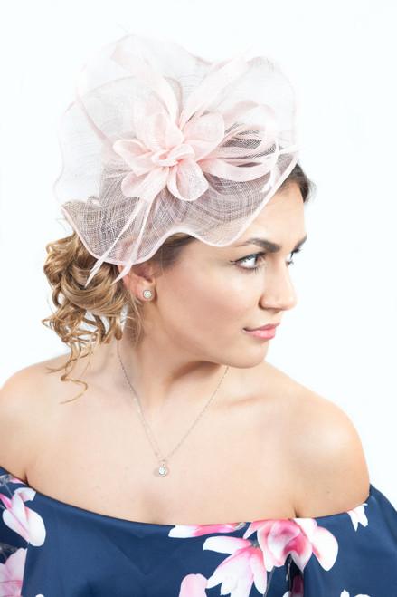 Elegance Large Pink Sinamay Headpiece Fascinator
