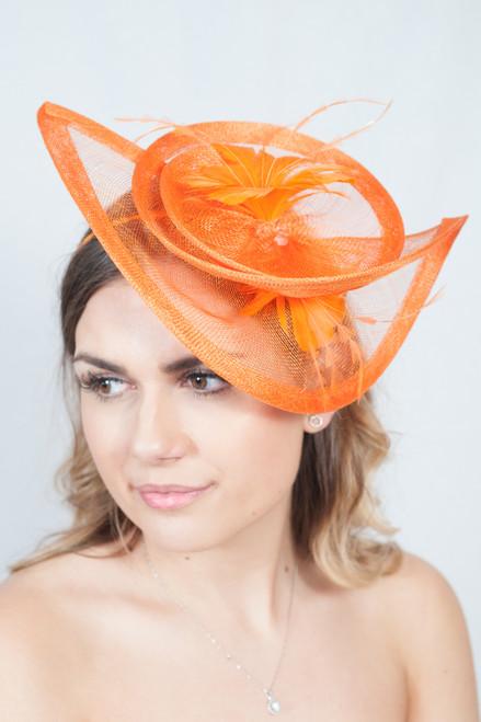 Occasion In Orange Floral Feather Hatinator Fascinator