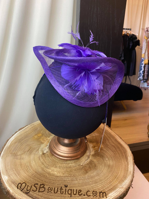 Purple Floral Feather Sinamay Hatinator