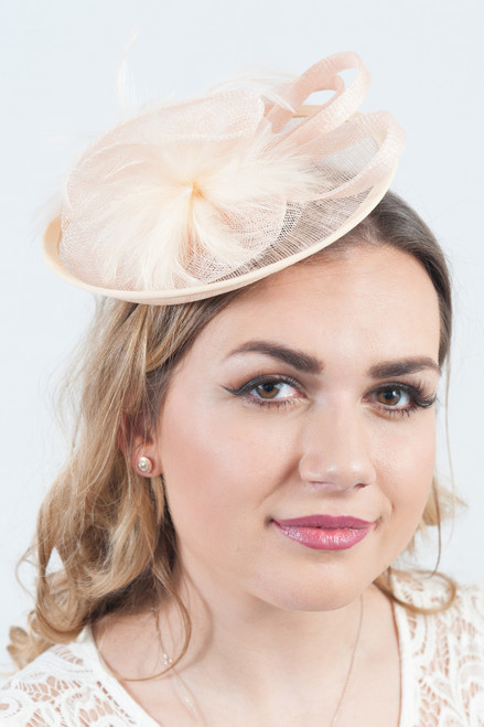 Champagne Feather Flower Sinamay Disc Fascinator