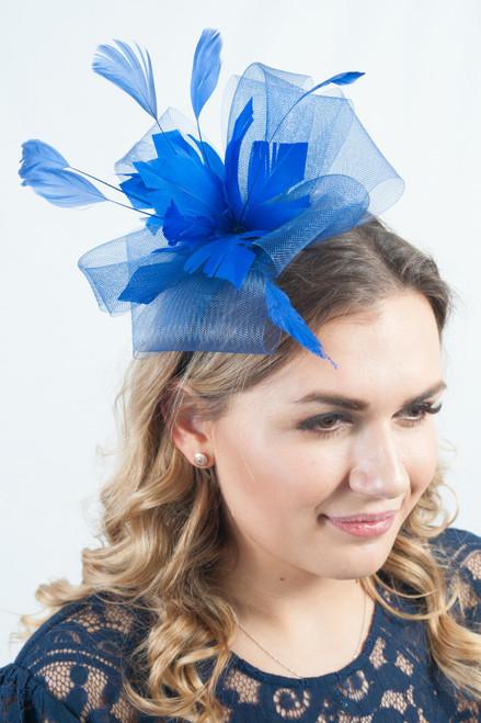 Royal Blue Floral Bloom Feather Fascinator