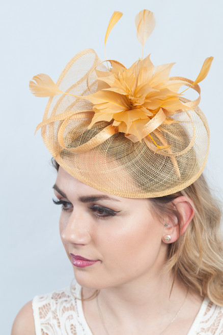 Mustard Floral Bloom Feather Fascinator