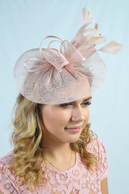 Luna Dusky Pink Diamante Sinamay Fascinator