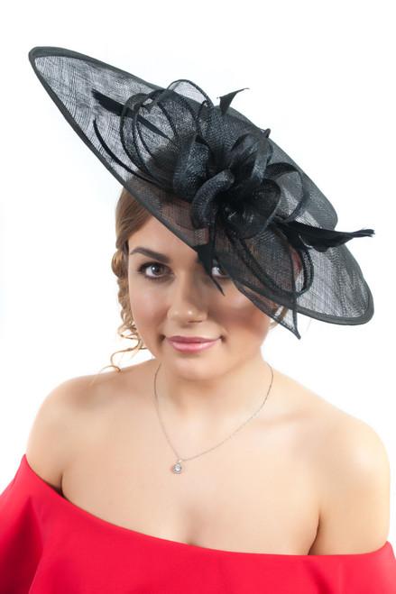 Oversized Teardrop Black Floral Sinamay Hat Fascinator
