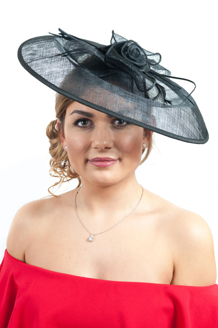 Oversized Black Sinamay Bow Feather Hat Fascinator