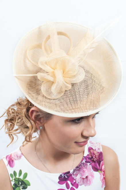 Oversized Cream Oval Peony Feather Quill Sinamay Hat Fascinator