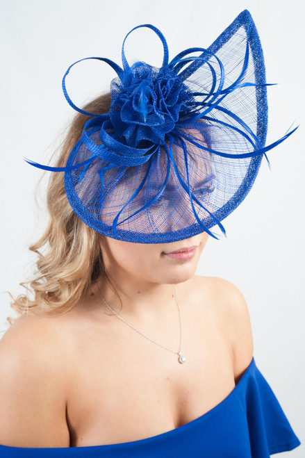 Electric Blue Sinamay Teardrop Fascinator