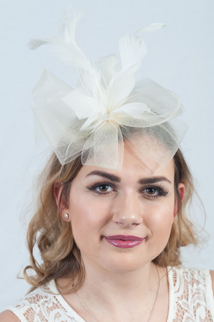 Ivory Floral Bloom Feather Fascinator