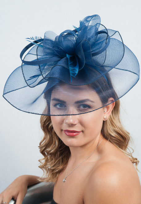Large Navy Veil Feather & Floral Fascinator Headpiece