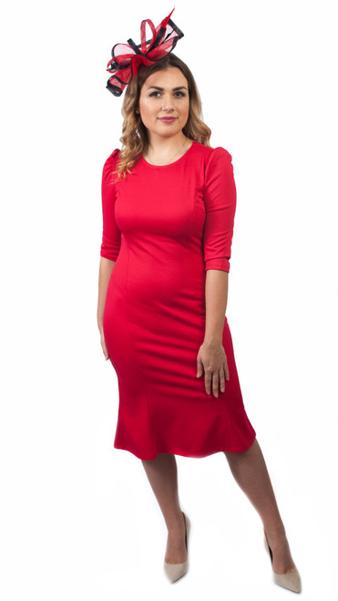 Valencia Red Puff Sleeve Mermaid Midi Dress - Red 3/4 sleeve party dress