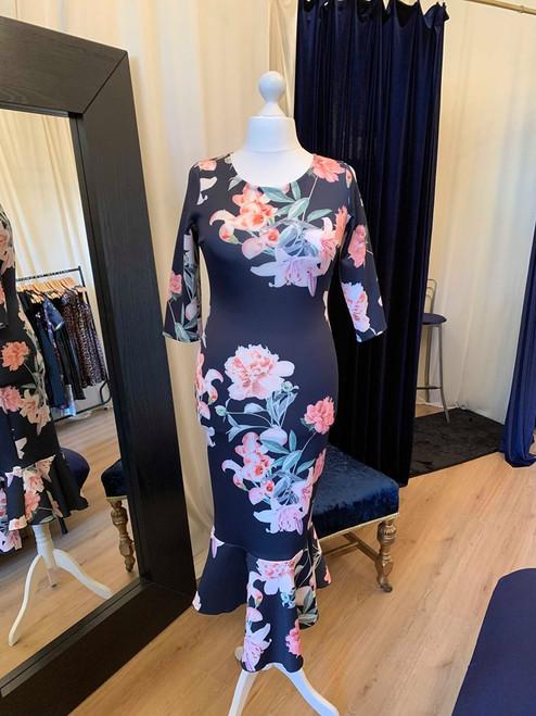 Designer Inspired Navy Floral Asymmetric Frill Hem Dress