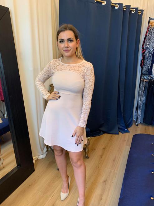 Dusky Pink Lace Long Sleeve Skater Dress