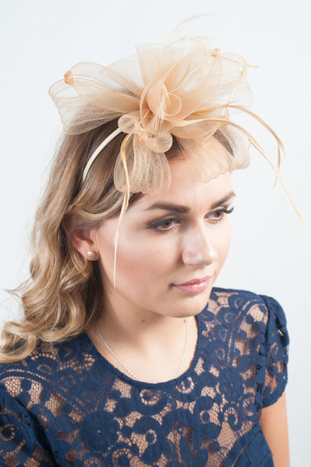 Promise Knotted Gold Feather Bow Fascinator