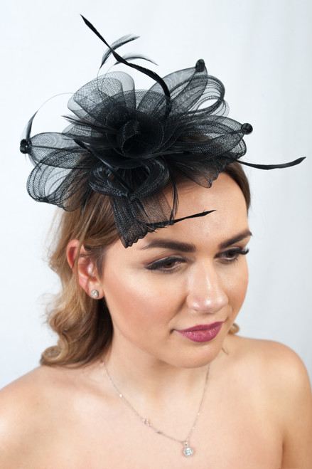 Promise Knotted Black Feather Bow Fascinator