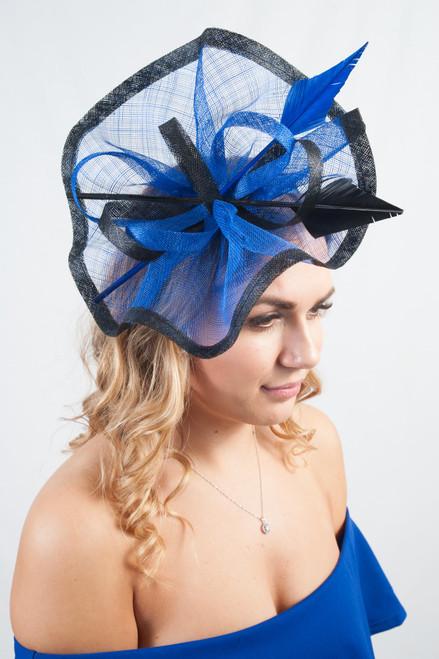 Royal Blue & Black Arrowhead Quill Sinamay Fascinator