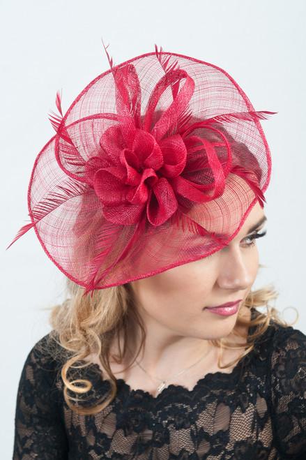 Cranberry Craze Elegance Large Sinamay Headpiece Fascinator