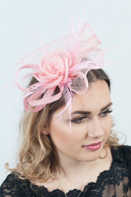Pretty in Pink Sinamay Floral Feather Fascinator