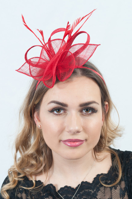 Lady in Red Ruffle & Loop Sinamay Fascinator