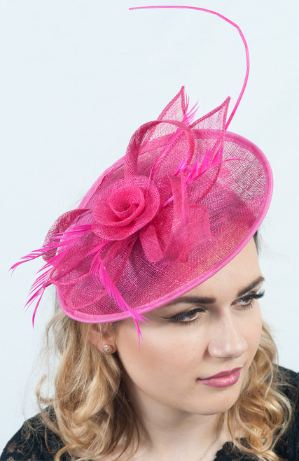 Fuchsia Pink Floral Loop & twill Fascinator